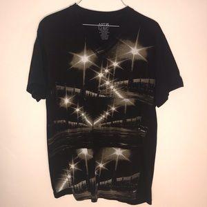 Apt 9 black city lights shirt graphic tee L